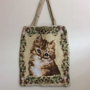 Vintage Novelty Kitty Cat Woven Tote Bag